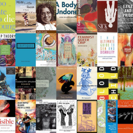 The covers of dozens of books discussing queerness, race, disability, and/or feminism are aligned in a grid.